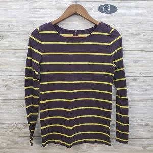 Loft Maroon & Yellow Striped Long Sleeve Top